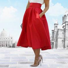 feb9f89965 Women s Fashion Midi Skirts Summer Wedding Party High Waist A Line Pleated  Long Skirts Drop Shipping