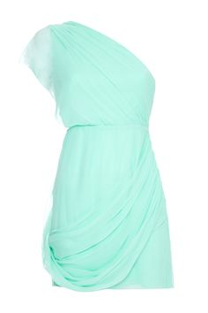 Alice + Olivia Wesson One Shoulder Dress In Aqua. So in love with this!