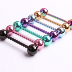 7pc 14G Surgical Steel Different Color Barbell Bar Tongue Ring Stud Piercing  Pin c968239095e5