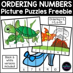 Practice and review sequencing numbers with these FREE differentiated puzzles! Your students should order the numbers to complete the picture. ENGAGING hands-on learning for your math centers! Simply print on cardstock, laminate and cut along the solid lines! Alternatively, the black and white versions can be printed on paper for students to color and then use as a cut and paste activity. Fairy Tale Theme, Solid Line, Number Sequence, Dinosaur Pictures, Ordering Numbers, Counting Activities, Picture Puzzles, Hands On Learning, Cut And Paste