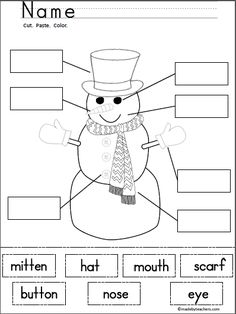 Free Snowman Labeling (cut and paste activity)   Use this fun activity with your students when reading and writing about snow, winter, and snowmen.  Add it to your winter unit and enjoy!