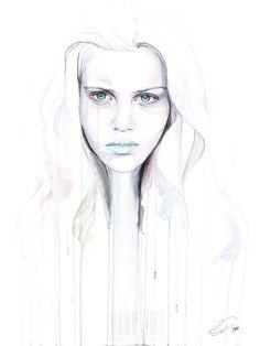Smoke & Mirrors - contemporary watercolor portrait by defectivebarbie