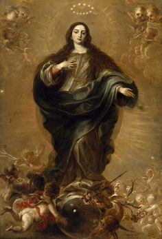 The Immaculate Conception - Juan Carreño de Miranda. Blessed Mother Mary, Blessed Virgin Mary, Catholic Art, Religious Art, Roman Catholic, Immaculée Conception, Colonial Art, Queen Of Heaven, Holy Mary