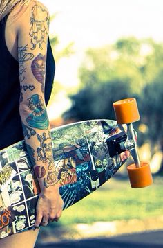 Best of both worlds, tattoos and boarding. I like how each one of the tattoos stands for itself, adding more one at a time. love it