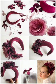 Winter wedding headpiece, wide velvet halo headband, Kate Middleton halo crown - New Sites Halo Headband, Fascinator Headband, Flower Headpiece, Wide Headband, Headpiece Wedding, Bridal Headpieces, Fascinators, Headpieces For Brides, Diy Wedding Headband