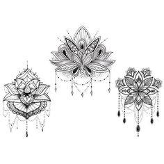 Tatouage temporaire : the 3 lotus - artwear tattoo - france Mandala Tattoo Design, Lotus Mandala Tattoo, Mandala Drawing, Tattoo Designs, Lotus Mandala Design, Tattoo Ideas, Tatoo Lotus, Lotus Henna, Geometric Mandala Tattoo