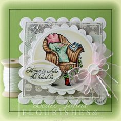Good morning and welcome to another Timeless Tuesday challenge! This weeks hostess is Maki & she asked the ladies to pick a letter of the alphabet & use at least three supplies/elements that start with the alphabet letter you picked. Beate Johns chose the letter S for sewing, sanding, & sponging. For her card she used the image On the Porch, she also used tuxedo black memento ink, Copic markers, & other items found at the Flourishes website. Be sure to check out her blog for detials on the…