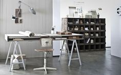 love this vintage but modern industrial look and i really want that storage piece!