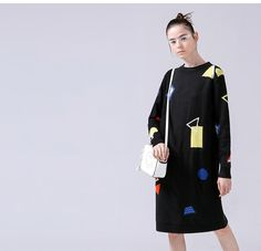 Toyouth 2017 Sweater Dress Women Casual Cotton Dresses Autumn Printed Knitting O-Neck Loose Dresses - The Bargain Paradise Casual Cotton Dress, Cotton Dresses, Chic Outfits, Fashion Outfits, Fall Dresses, Loose Dresses, Casual Dresses For Women, Clothes For Women, Korean Outfits