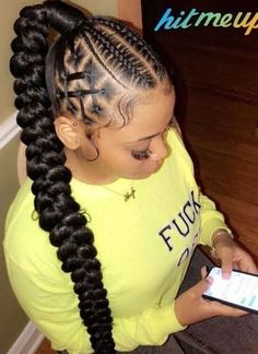 Love this goddess braid ponytail with a twist by Paris.crusoe ❤️On a scale i… Love this goddess braid ponytail with a twist by Paris.crusoe ❤️On a scale i… – Protective Styles Hair Ponytail Styles, Weave Ponytail Hairstyles, Braided Hairstyles For Black Women, Baddie Hairstyles, African Braids Hairstyles, Braids For Black Hair, Braid Styles, Short Hair Styles, School Hairstyles
