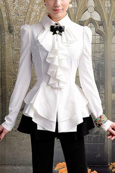 Pure White Flounced Shirt OASAP.com