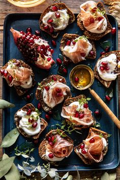Honey Whipped Ricotta and Prosciutto Crackers | Half Baked Harvest New Year's Eve Appetizers, Appetizer Recipes, Christmas Appetizers, Delicious Appetizers, Savory Snacks, Prosciutto, Ricotta, Half Baked Harvest, Appetisers