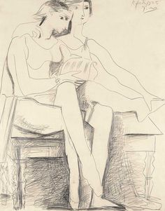 Pablo Picasso Two Seated Dancers, 1925 Pencil on paper, x inches Private collection. © 2010 Estate of Pablo Picasso / Artist Rights Society (ARS), New York Pablo Picasso Drawings, Picasso Sketches, Picasso Art, Art Drawings, Georges Braque, Life Drawing, Figure Drawing, Francis Picabia, Art Moderne