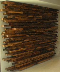Stacked Wood Wall Design | Stack Wall Display