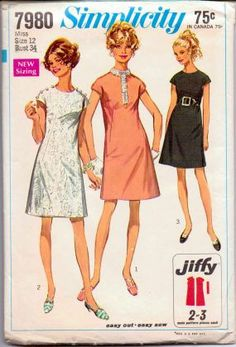 Simplicity 7980 Misses One Piece Jiffy Dress Vintage Sewing Pattern #1960s #dress #ladies #simplicity #vintage #patterns #sewing #retro #vintagestitching