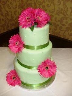 Green & pink Wedding cake