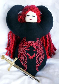 Goddess Doll - the Morrigan, Celtic Goddess of Battle, handmade, she has a sword! Raven and Crow goddess $65