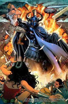 Wonder Woman 12 Page 20 Ares arrives. Comic Books Art, Comic Art, Book Art, Marvel Dc, Marvel Comics, Women Villains, Justice League Comics, Spiderman, Univers Dc