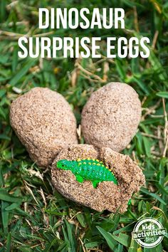 Dinosaur Surprise Eggs - With just a few ingredients, you can make realistic-looking eggs that are filled with tiny dinos when cracked open! Great for birthday parties or kids crafts!