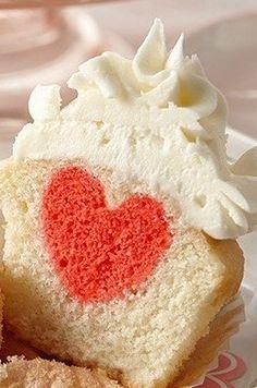 Surprise Inside Raspberry Heart Cupcake Recipe