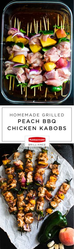 Make use of fresh summer ingredients in the most delicious way thanks to this recipe for Homemade Grilled Peach BBQ Chicken Kabobs! Using Rubbermaid BRILLIANCE™ food storage containers found at Target to marinate this tasty combination of chicken, peaches, poblano peppers, and red onions in a flavorful fruity and spicy sauce means that meal prep just got a whole lot easier—and less messy!