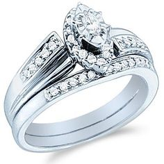 Marquise Diamond Pave Set Wedding Rings - The Wedding Specialists