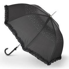 Ladies  Gracie  Diamante Frill Auto Walking Umbrella - Dark Grey   | eBay