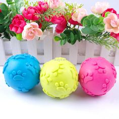 3 Color Teeth Bite Rubber Dog Cat Play Ball Products Interactive Toys