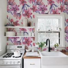 Lovely pink vibes for your kitchen decoration, humidproof wallpaper on a pee&stick fabric #walldecor #kitchen #decorideas #peelandstick #humidproof #wallmural #homedecor #kitchenideas #kitchendecor #decorating #pinkcolor #pink #pinkkitchen #pinkwall
