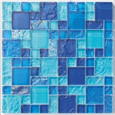 Glass Pool Mosaic Tile Vieques Blend for swimming pool, shower walls, backsplash, Jacuzzi, and spa. Made with translucent glass for a better reflection under water. Samples available.