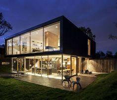 Ferienhaus Glas Fassade Holz Bau Elemente