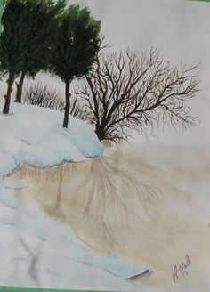 Winter melt water color Watercolor, Winter, Painting, Outdoor, Art, Pen And Wash, Winter Time, Outdoors, Kunst