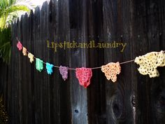Lipstick and Laundry: Rainbow Doily Banner Tutorial