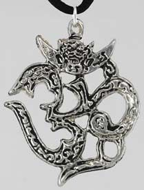 """Om is a sacred syllable in the Hindu, Jain and Buddhist religions symbolizing spiritual perfection in all its forms. Evoke that all-fulfilling energy within your own life with this powerful pewter amulet. This Om amulet measures 1 1/2"""" long and 1 3/16"""" wide and comes with a black satin cord to we..."""