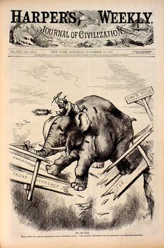 """Thomas Nast, political cartoon for """"Harper's Weekly"""" 1877. The covers of this publication are a forerunner on newsmagazine coverage of current events."""