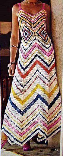 ViVENDO COM ARTE: vestido de crochê em zig zag
