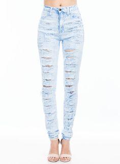 Slashes To Slashes Bleach Wash Jeans