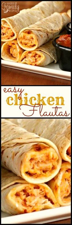 These Chicken Flautas are a great dinner if you don't have a lot of time but still want a family-pleasing meal. I love dipping these in sour cream or salsa! #flautas #chickenflautas #easyrecipe #chicken #mexican #afterschoolsnack