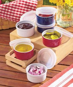 Make sure you always have the perfect bowl for serving and storing with this value-priced 12-Pc. Ramekin Set. Each bowl is equipped with a clear, snap-tight lid. They're perfect for condiments, snacks, leftovers and more. You can even use them to bake si