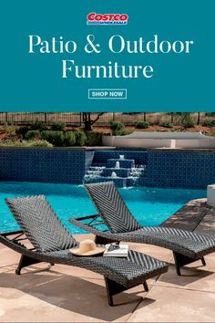 Sit poolside or in your garden in these comfortable lounge chairs. The padded wicker is comfortable for any warm season to your feet up and relax outside! The hand-woven all-weather wicker and aluminum, fully welded frames ensure years of durability and enjoyment. Shop for more outdoor and patio furniture at Costco.com.