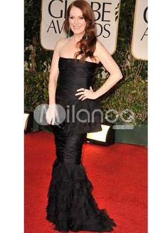 Black Tulle Strapless Sheath Evening Golden Globe Dress. Dress like the stars do in this fabulous red carpet-inspired dress. It features a complete bandage-like style from bust to hips, wrapping you in lovely tulle-like fabric. The mermaid-style skirt flares slightly at the knees .. . See More Golden Globe Dresses at http://www.ourgreatshop.com/Golden-Globe-Dresses-C903.aspx
