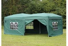 10 x 20 foot Large Steel Gazebo With Sides, Green | Absolute Home