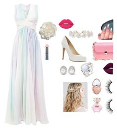 """""""Pretty prom"""" by panicatthediscoconsert on Polyvore featuring Zuhair Murad, Jessica Simpson, Valentino, Humble Chic, Kenneth Jay Lane, Cara, Too Faced Cosmetics, tarte, Lime Crime and MAC Cosmetics"""