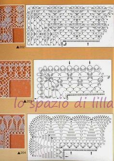 space lilac: Schemes crochet edges with corners, useful for covers and placemats / Crochet edges with corner useful for baby blankets and placemats, free patterns