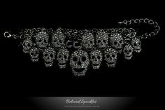 Skull Bracelet Black Skull Crystal Cluster by BelovedSparkles