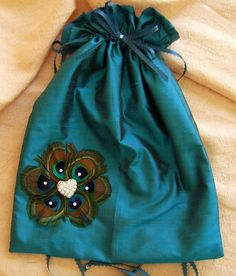 Peacock Feathers and Teal Wedding Color Bridal pouch ♥ by All4Brides