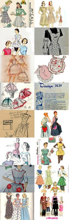 Spring Cleaning! Suzy Homemaker Inspired Aprons by PengyPatterns on Etsy Make your own aprons from these patterns from the Pattern Patter team. My favorite is the necktie apron. We didn't waste any fabric during WWII. Many often advertised as using 1 yard of fabric. --Shared by WhatnotGems.Etsy.com