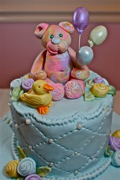 Marzipan Baby Shower figurines- Teddy bear, duck and balloons. $44.50, via Etsy.