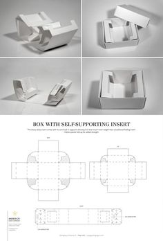 Box with Self-Supporting Insert – FREE resource for structural packaging design dielines Packaging Dielines, Gift Packaging, Carton Design, Paper Structure, Cardboard Packaging, Calligraphy Pens, Packaging Design Inspiration, Box Design, Paper Crafts