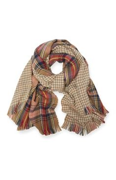 Orange Check Dogtooth Reversible Scarf